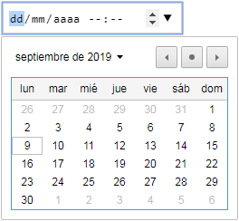 input type datetime-local con flechas de control y calendario