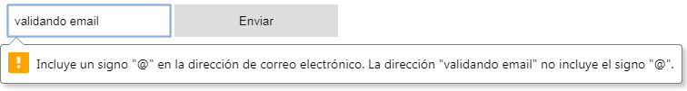 input type email con mensaje de validación
